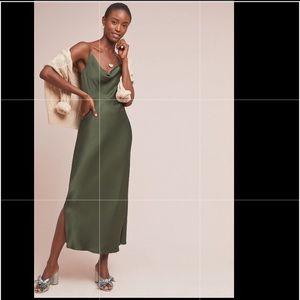 Anthropology   olive green bias slip dress